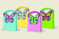 PR1004 - Premium Large Bright Butterfly Gift Bag  Assort - 48 in assortment - 12 each of 4 designs