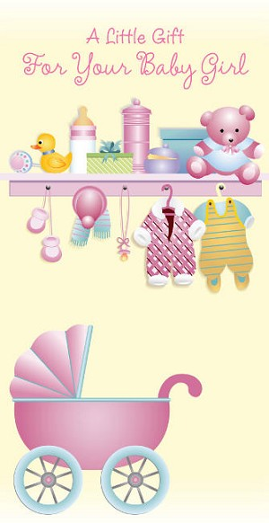 01676 - $2.80 Retail Each - Money Holder Greeting Cards Baby Girl PKD 6