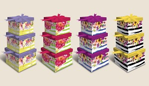 "BX1007 - ""Fantastic Florals""  3-piece Set Nesting Boxes - 12 of each design - 36 boxes in total"