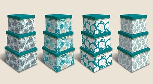 "BX1005 - ""Spy Turquoise""  3-piece Set Nesting Boxes - 12 of each design - 36 boxes in total"
