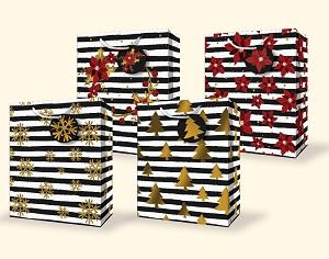 cgb35 large christmas gift bag assortment glitter foil 4 designs pkd - Large Christmas Gift Bags