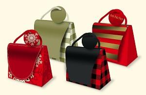 Wholesale Mini Christmas Purse Gift bags. Assorted Christmas designs